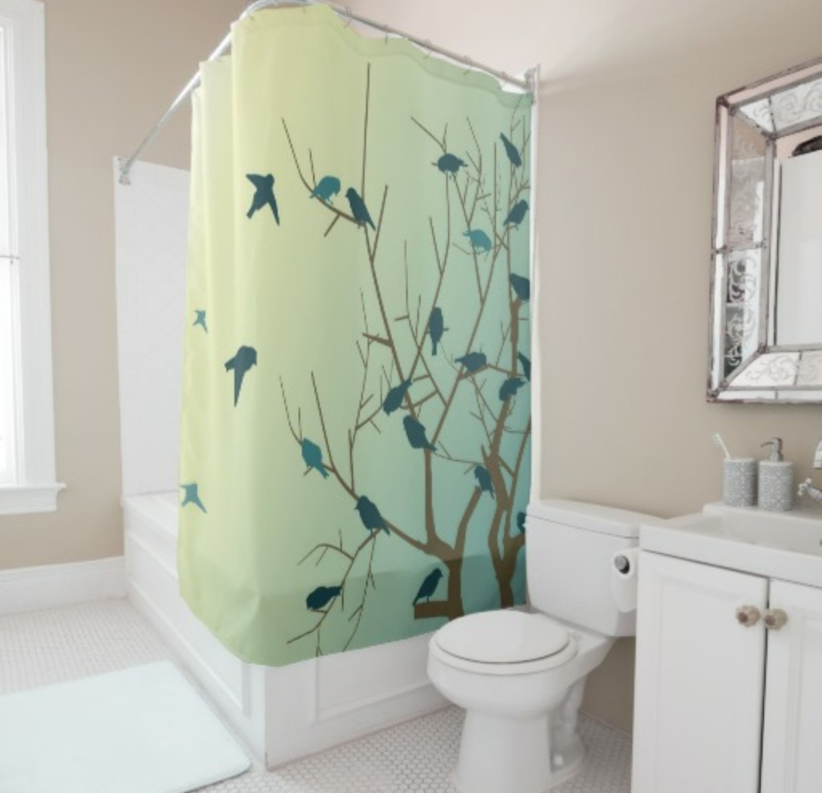 Bird Pattern Shower Curtain